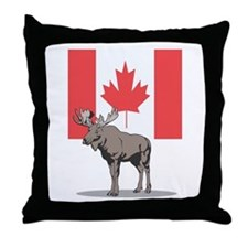 Canadian Flag with Moose Throw Pillow