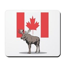 Canadian Flag with Moose Mousepad