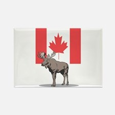 Canadian Flag with Moose Rectangle Magnet