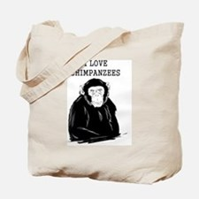 I Love Chimpanzees Tote Bag