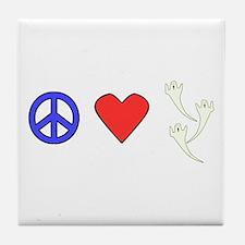 Peace Love Ghosts Tile Coaster