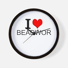 I Love Beadwork Wall Clock