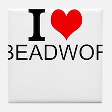 I Love Beadwork Tile Coaster