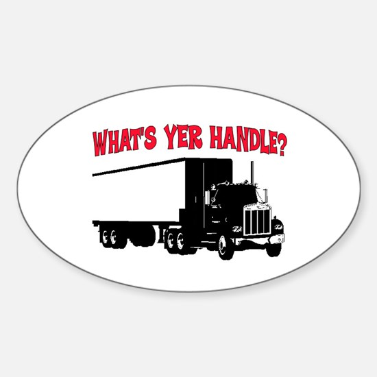 WHAT'S YER HANDLE?? Oval Decal