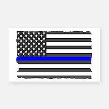 Us Flag Blue Line Rectangle Car Magnet