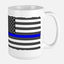 US Flag Blue Line Mugs