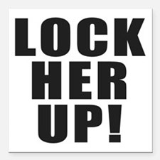 """Lock Her Up Square Car Magnet 3"""" x 3"""""""