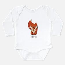 Funny Kids fox Long Sleeve Infant Bodysuit