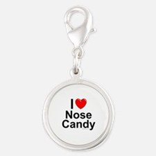 Nose Candy Silver Round Charm