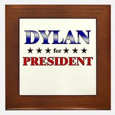 DYLAN for president Framed Tile
