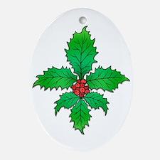 Holly Fleur de lis Oval Ornament