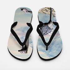 Cute ostrich in a seascape Flip Flops