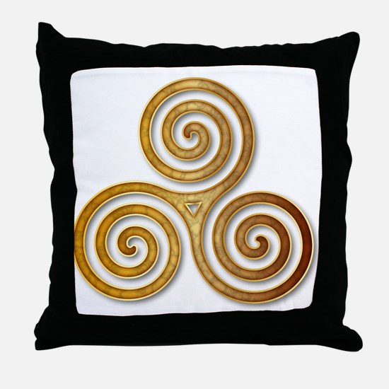 Celtic Triple Spiral in Citrine & Gol Throw Pillow