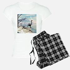 Cute ostrich in a seascape Pajamas