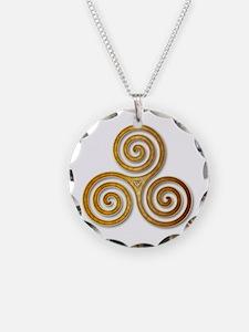 Celtic Triple Spiral in Citr Necklace
