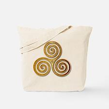 Celtic Triple Spiral in Citrine & Gold Tote Bag