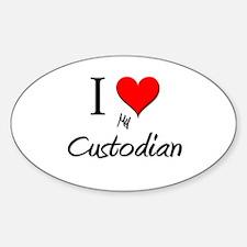 I Love My Custodian Oval Decal