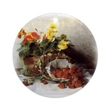 """Flowers & Strawberries"" - Ornament (Round)"