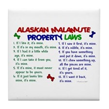 Alaskan Malamute Property Laws 2 Tile Coaster