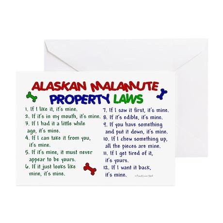 Alaskan Malamute Property Laws 2 Greeting Cards (P
