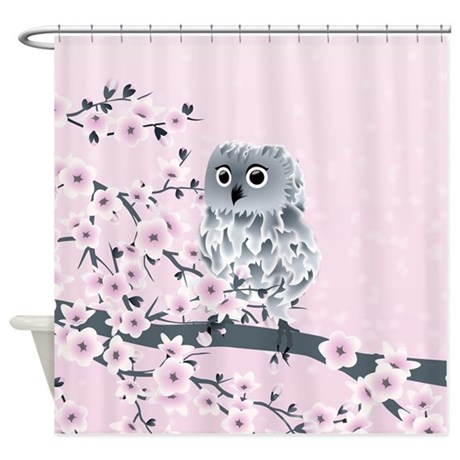 Cute Owl Girls Shower Curtain