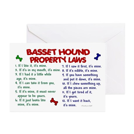 Basset Hound Property Laws 2 Greeting Cards (Pk of