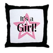 It's a Girl Star Throw Pillow