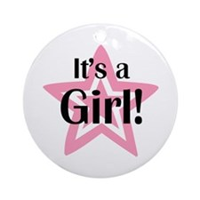It's a Girl Star Ornament (Round)