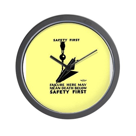 Safety First Yellow 1937 Wall Clock