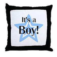 It's a Boy Star Throw Pillow
