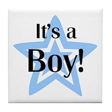 It's a Boy Star Tile Coaster