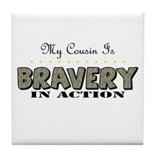 Cute Proud army cousin Tile Coaster