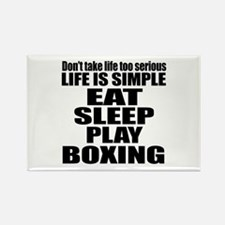 Life Is Eat Sleep And Boxing Rectangle Magnet