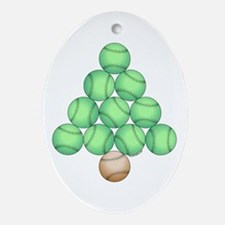 Baseball Tree Oval Ornament
