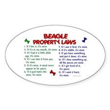 Beagle Property Laws 2 Oval Decal