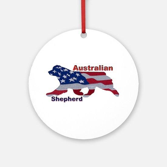 US Flag Aussie Round Ornament
