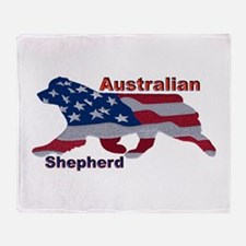 US Flag Aussie Throw Blanket