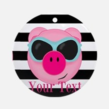 Cool Pink Pig Round Ornament