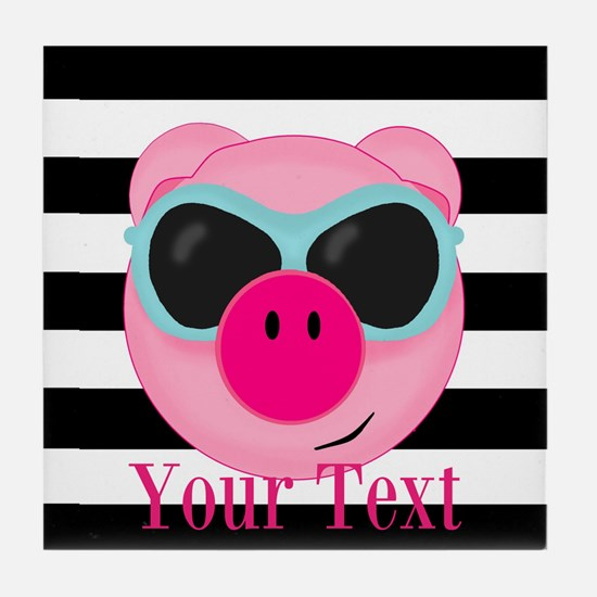 Cool Pink Pig Tile Coaster