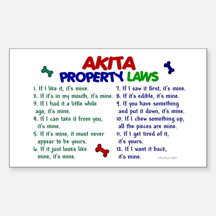Akita Property Laws 2 Rectangle Decal
