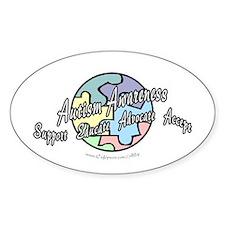 Autism Awareness Globe Oval Decal