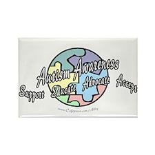 Autism Awareness Globe Rectangle Magnet