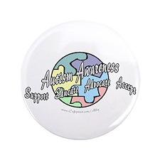 """Autism Awareness Globe 3.5"""" Button"""