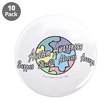 "Autism Awareness Globe 3.5"" Button (10 pack)"