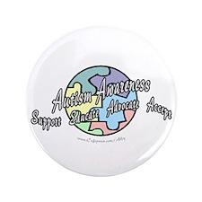 "Autism Awareness Globe 3.5"" Button (100 pack)"