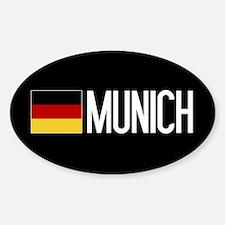 Germany: German Flag & Munich Sticker (Oval)