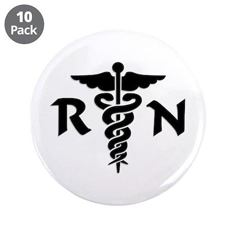 "RN Medical Symbol 3.5"" Button (10 pack)"