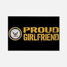 U.S. Navy: Proud Girlfriend (Blac Rectangle Magnet