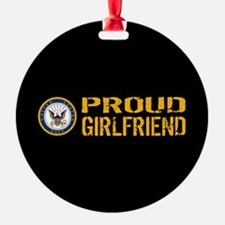 U.S. Navy: Proud Girlfriend (Black) Ornament