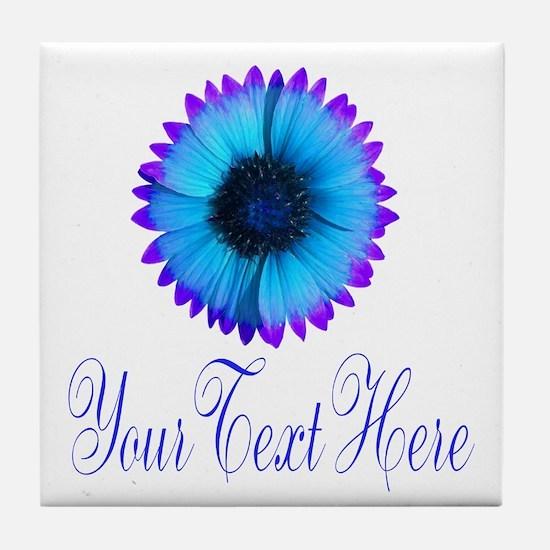 Fantasy Flower Blue Purple Tile Coaster